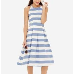 The Limited blue & white striped midi dress